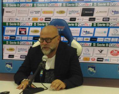 Serse Cosmi in sala stampa dopo la vittoria sul Pescara (foto di Chiara Poli)