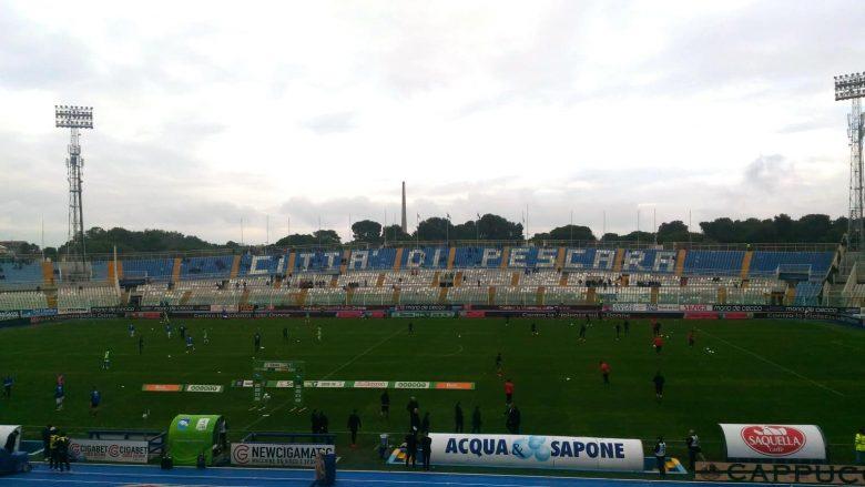 Pescara-Ascoli 2018-19, riscaldamento pre partita.