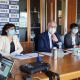 Luca Ceriscioli, al centro, con la giunta regionale, conferenza stampa 27 maggio